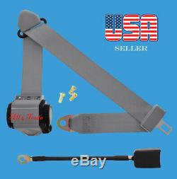 1 Kit of 3 Point Universal Strap Retractable & Adjustable Safety Seat Belt Gray