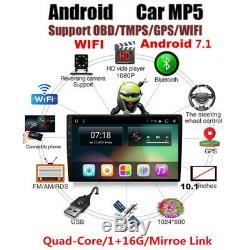 10.1 1 DIN Car Android 7.1 Stereo Radio Player WIFI GPS Navigation Touch Screen