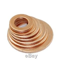 120Pc 8 Sizes Assorted Car Engine Copper Crush Washers Seal Gasket Flat Ring Set