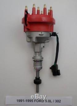 1991-1995 Ford 5.0l 302 Efi Distributor + 45k Coil + Red Spark Plug Wires USA