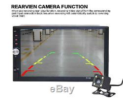 2 DIN 7 Car Video Player MP5 MP3 FM Bluetooth Touch Screen Stereo Radio +Camera