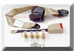2 Kits Universal Strap Retractable & Adjustable Safety Seat Belt Beige 3 Point
