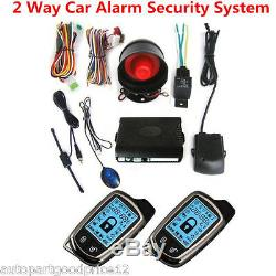 2-Way Car Alarm Security System Siren Anti-theft & 2LCD Long Distance Controlers