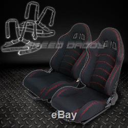 2 X Universal Type-f1 Black Woven Racing Seats+slider+4-point Camlock Seat Belts