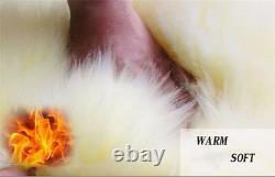 2x Soft Genuine Australian Sheepskin Fur Long Wool Car Front Seat Covers Winter