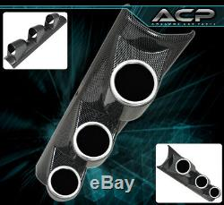 3 Hole Pillar Carbon Fiber Holder Pod Gauge Exhaust Gas Turbo Boost Tachometer