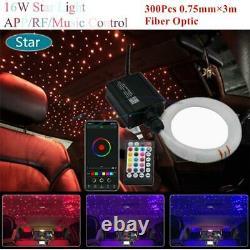 300Pcs 3M Car Headliner Roof Star Light Kit RGB LED Projector Fiber Optic Lights