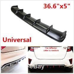 36.6 Universal Rear Shark Fin Style Curved Addon Bumper Lip Diffuser 6 Fin Kit