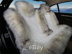 3Pcs Genuine Australian Sheepskin Fur Car Seat Protector Covers Warm Comfortable
