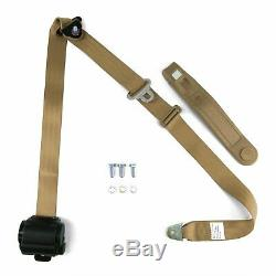 3pt Tan Retractable Seat Belts With Middle 2pt Lap Belt Kit For Bench Seat