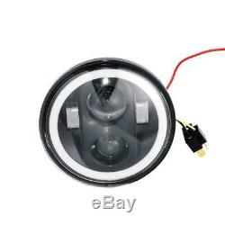 4PCS 5 3/4 5.75 CREE Projector LED Headlights Sealed Beam Halo Ring Lamp Bulbs