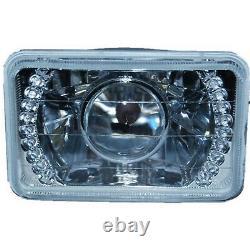 4X6 Amber LED Halo Projector Halogen Headlight Headlamp Bulbs Crystal Clear Set