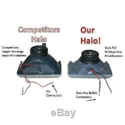 4X6 Blue LED Halo Angel Eye Halogen H4 Headlights Crystal Clear Headlamp Bulbs