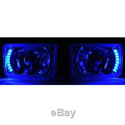 4X6 Blue LED Halo Drl Halogen Headlight Headlamp Light Bulbs Crystal Clear Set