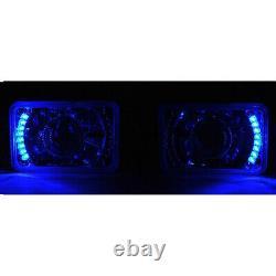 4X6 Blue LED Halo Projector Halogen Headlight Headlamp Bulbs Crystal Clear Set