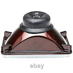 4X6 Halogen Crystal Clear Glass Lens Metal Headlight H4 Light Bulb Headlamp Set