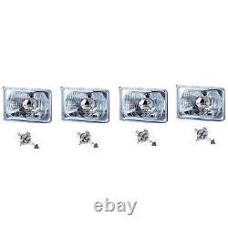 4X6 Halogen Semi Sealed H4 Headlight Headlamp Bulbs Diamond Crystal Clear Set