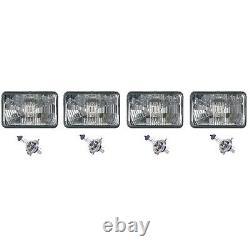4X6 Halogen Semi Sealed Stock Glass H4 Headlight Headlamp Light Bulbs Set