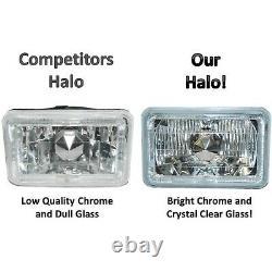 4X6 Red LED Halo Angel Eye Halogen H4 Headlight Crystal Clear Headlamp Bulbs