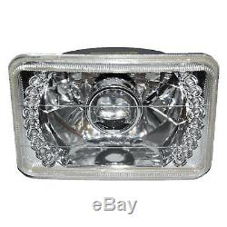 4X6 Red LED Halo Projector Halogen Headlight Headlamp Bulbs Crystal Clear Set