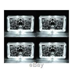 4X6 White LED Halo Angel Eye Halogen H4 Headlight Crystal Clear Headlamp Bulbs