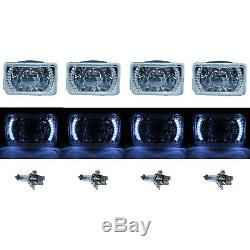 4X6 White LED Halo Projector Halogen Headlight Headlamp Bulbs Crystal Clear Set