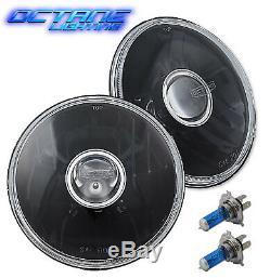 5-3/4 Black Projector Crystal Clear Glass Halogen Headlight Lamp Light Bulb Set