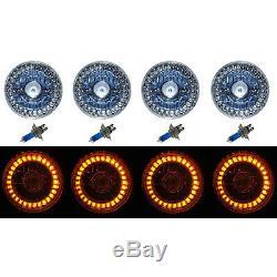 5-3/4 Halogen Amber LED Ring Halo Angel Eyes Projector Headlight Light Bulbs Set