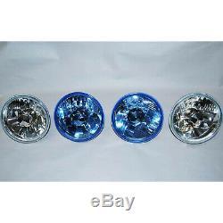 5-3/4 Halogen Diamond Crystal Clear Blue Headlight Headlamp 60/55W H4 Bulbs Set