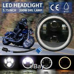 5.75 Black LED Headlights Hi/Lo Beam Halo Angle Eyes For Jeep