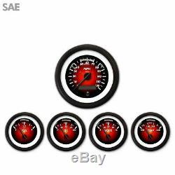 5 Gauge Set SAE Pulsar Red & Black Street Rod Hot Rod Custom Truck Dash Mount