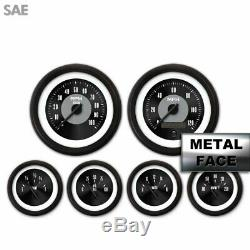 6 Gauge Set Speedo Tach Oil Temp Fuel Volt Black Face Blk Needles Lip LED 043-WC