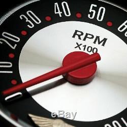 6 Gauge Set Speedo Tach Oil Temp Fuel Volt Retro Rod Red Chrome Needles LED hot
