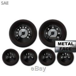 6 Gauge Set Speedo Tach Oil Temp Fuel Volt Triple Black V Needles LED 043-WC SAE