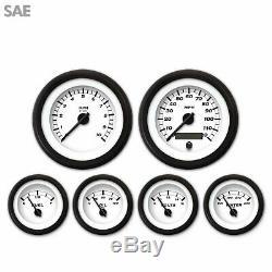 6 Gauge Set Speedo Tacho Oil Temp Fuel Volt Black/BLK DIY Kit LED 043-WC SAE LSX
