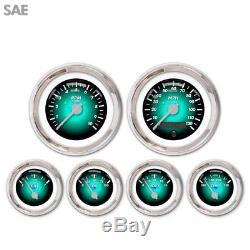 6 Gauge Set Speedo Tacho Oil Temp Fuel Volt Pulsar Aqua Silver LED 043-WC SAE