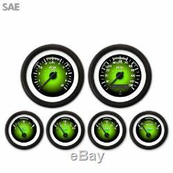 6 Gauge Set Speedo Tacho Oil Temp Fuel Volt Pulsar Green Black LED 043-WC SAE LS