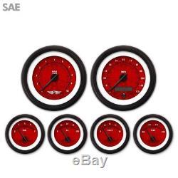 6 Gauge Set Speedo Tacho Oil Temp Fuel Volt SAE Tribal Red Black LED 043-WC DIY