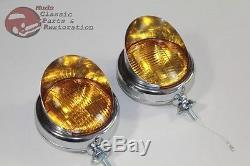 6 Volt Amber Mounted Visor Fog Light Lamps Custom Truck Hot Rat Street Rod Pair