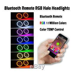 7 CREE LED Headlight RGB Angel Eye Light Bluetooth App For Jeep Wrangler Hummer