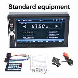 7'' HD 2 Din Car Radio MP5 Player Touch Screen Bluetooth FM AUX USB +Rear Camera