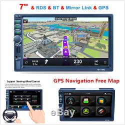 7 HD Touch Screen Double 2DIN Car Stereo MP5 Player Bluetooth Radio GPS+8G Card