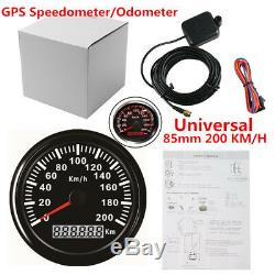 85mm 200KM/H Car Auto GPS Speedometer Odometer Waterproof Digital Gauge Backlit