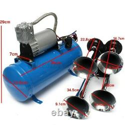 Air Horn 4 Trumpet 12/24 Volt Compressor + Hose 150 dB Train 180 PSI Kit Truck