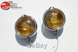 Amber 5 Custom Mounted Fog Lights Lamps w Crest Vintage Style Car Truck Hot Rod