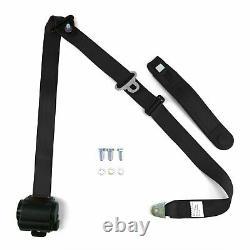 Bench Seat 3pt Black Retractable Seat Belts With Middle 2pt Lap Belt Kit