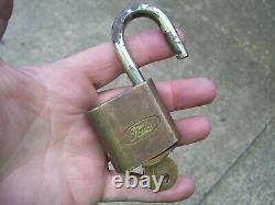Brass Original Padlock Ford motor co. Auto lock accessory vintage tire tool kit