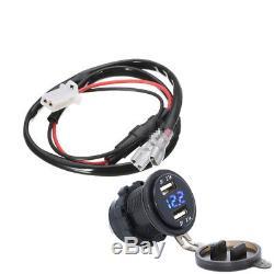 Car Motorcycle 12V 4.2A Dual USB Charger Socket Blue LED Light Voltage Voltmeter