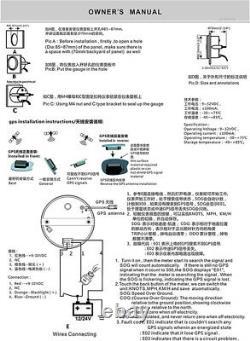 Car Truck Round 3-3/8 GPS Speedometer Black Background/Bezel Red LED Backlight