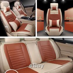 Deluxe PU Leather Car SUV Seat Cover Cushion For 5-Seat Car Interior Accessories
